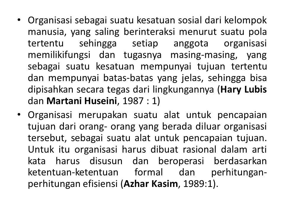 Organisasi sebagai suatu kesatuan sosial dari kelompok manusia, yang saling berinteraksi menurut suatu pola tertentu sehingga setiap anggota organisas