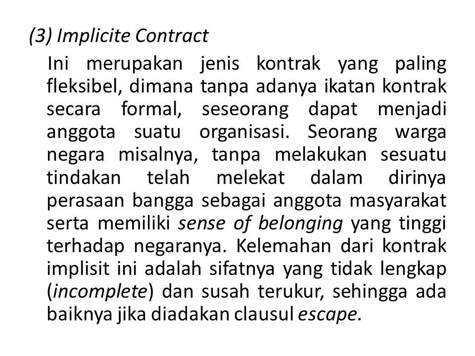(3) Implicite Contract Ini merupakan jenis kontrak yang paling fleksibel, dimana tanpa adanya ikatan kontrak secara formal, seseorang dapat menjadi an