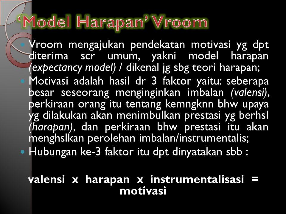 Vroom mengajukan pendekatan motivasi yg dpt diterima scr umum, yakni model harapan (expectancy model) / dikenal jg sbg teori harapan; Motivasi adalah hasil dr 3 faktor yaitu: seberapa besar seseorang menginginkan imbalan (valensi), perkiraan orang itu tentang kemngknn bhw upaya yg dilakukan akan menimbulkan prestasi yg berhsl (harapan), dan perkiraan bhw prestasi itu akan menghslkan perolehan imbalan/instrumentalis; Hubungan ke-3 faktor itu dpt dinyatakan sbb : valensi x harapan x instrumentalisasi = motivasi