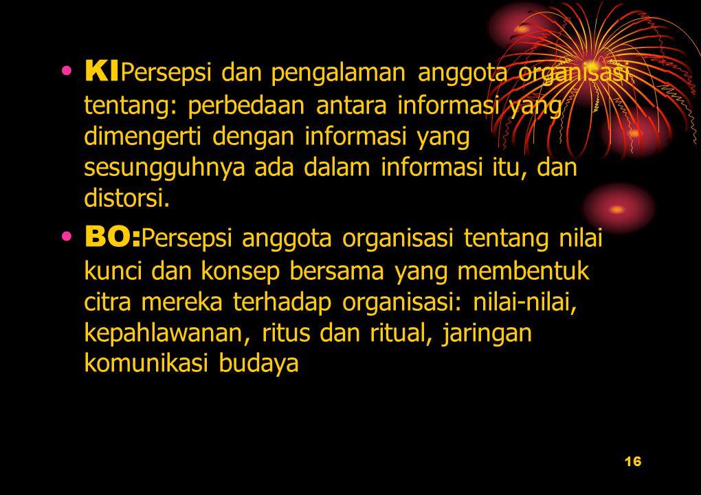 16 KI Persepsi dan pengalaman anggota organisasi tentang: perbedaan antara informasi yang dimengerti dengan informasi yang sesungguhnya ada dalam info