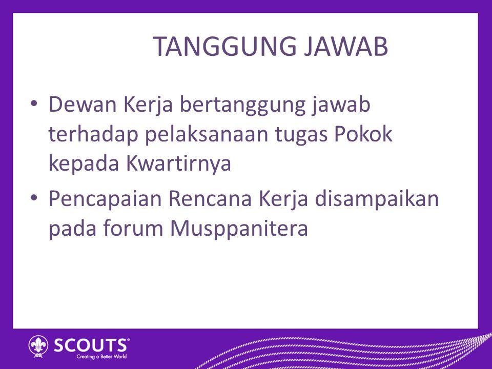TANGGUNG JAWAB Dewan Kerja bertanggung jawab terhadap pelaksanaan tugas Pokok kepada Kwartirnya Pencapaian Rencana Kerja disampaikan pada forum Musppa
