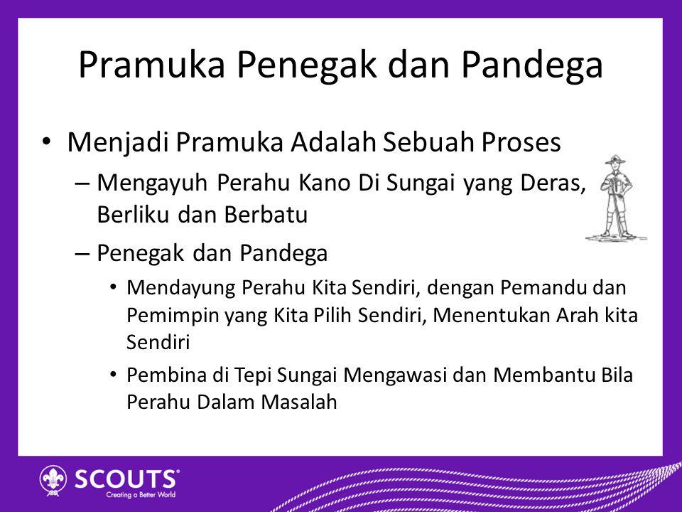 Penegak dan Pandega dituntut untuk mampu melakukan proses pembinaan dirinya secara mandiri dengan pendampingan dari orang dewasa (pembina)