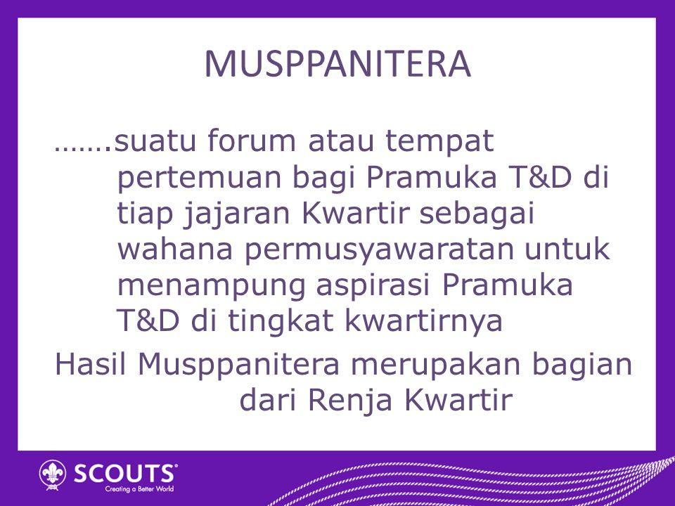 MUSPPANITERA …….suatu forum atau tempat pertemuan bagi Pramuka T&D di tiap jajaran Kwartir sebagai wahana permusyawaratan untuk menampung aspirasi Pra