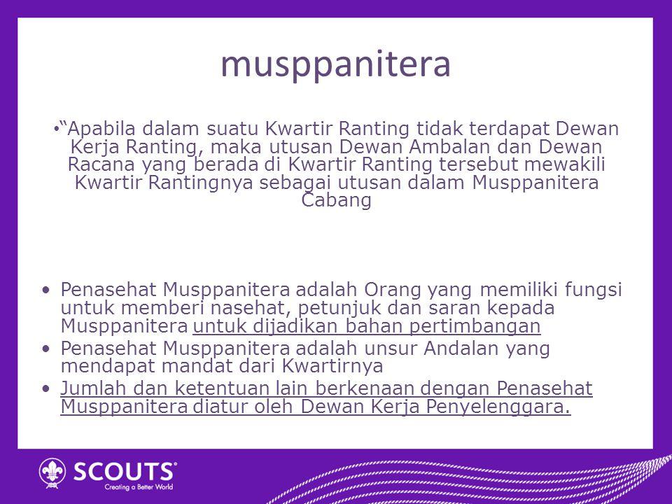 """musppanitera """"Apabila dalam suatu Kwartir Ranting tidak terdapat Dewan Kerja Ranting, maka utusan Dewan Ambalan dan Dewan Racana yang berada di Kwarti"""