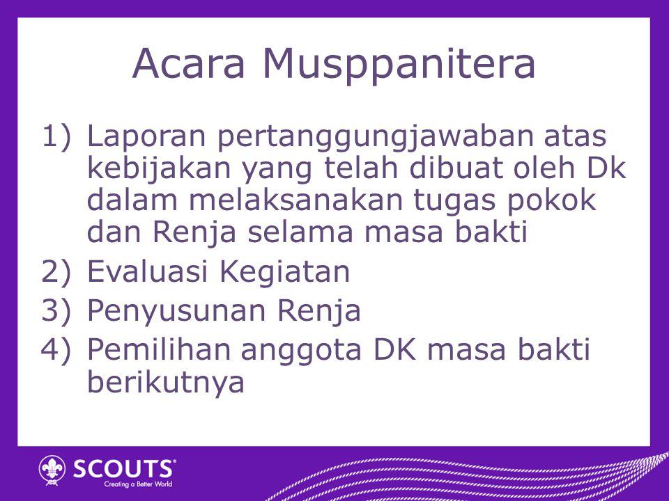 Acara Musppanitera 1)Laporan pertanggungjawaban atas kebijakan yang telah dibuat oleh Dk dalam melaksanakan tugas pokok dan Renja selama masa bakti 2)
