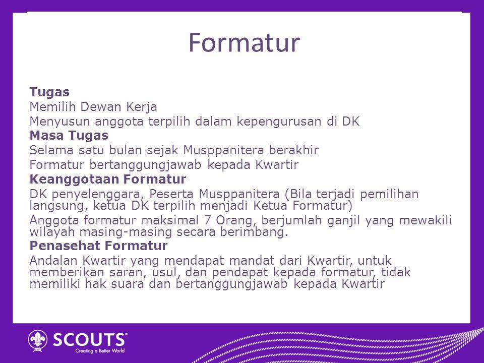 Formatur Tugas Memilih Dewan Kerja Menyusun anggota terpilih dalam kepengurusan di DK Masa Tugas Selama satu bulan sejak Musppanitera berakhir Formatu