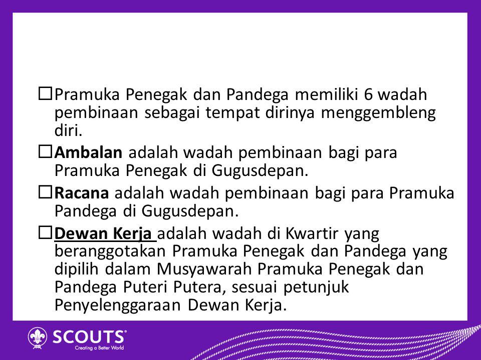  Pramuka Penegak dan Pandega memiliki 6 wadah pembinaan sebagai tempat dirinya menggembleng diri.  Ambalan adalah wadah pembinaan bagi para Pramuka