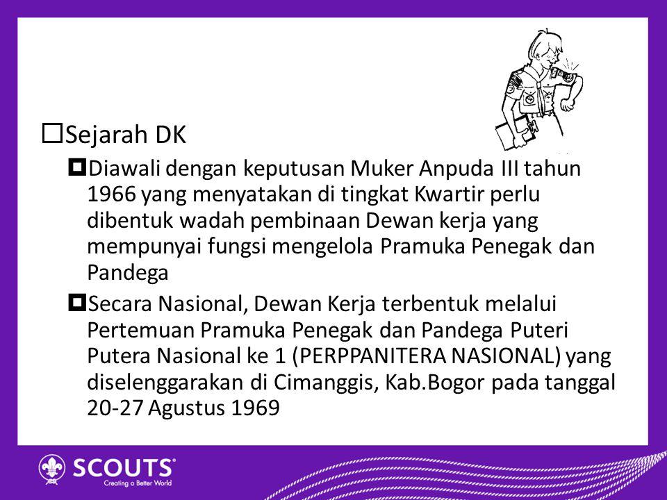 Sejarah DK  Diawali dengan keputusan Muker Anpuda III tahun 1966 yang menyatakan di tingkat Kwartir perlu dibentuk wadah pembinaan Dewan kerja yang