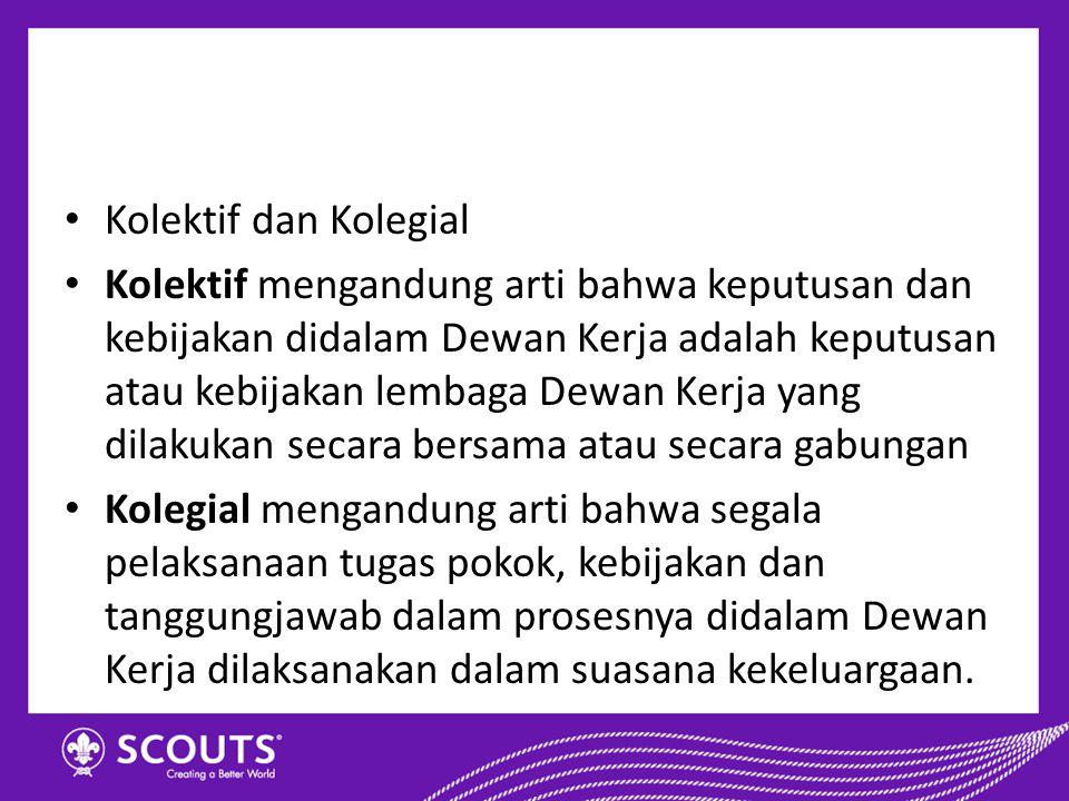Kolektif dan Kolegial Kolektif mengandung arti bahwa keputusan dan kebijakan didalam Dewan Kerja adalah keputusan atau kebijakan lembaga Dewan Kerja y