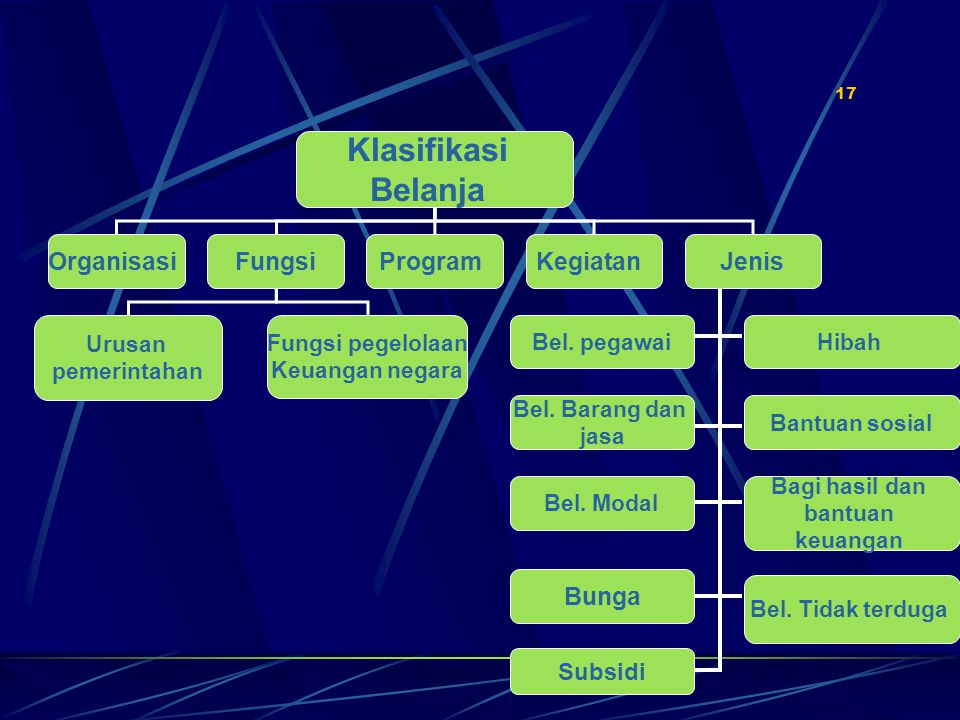 17 Klasifikasi Belanja OrganisasiFungsiKegiatanProgram Urusan pemerintahan Fungsi pegelolaan Keuangan negara Jenis Bel.