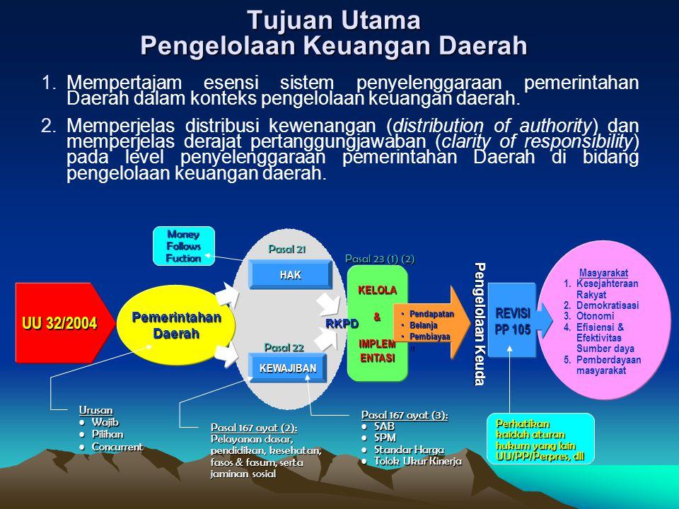 Tujuan Utama Pengelolaan Keuangan Daerah 1.Mempertajam esensi sistem penyelenggaraan pemerintahan Daerah dalam konteks pengelolaan keuangan daerah.