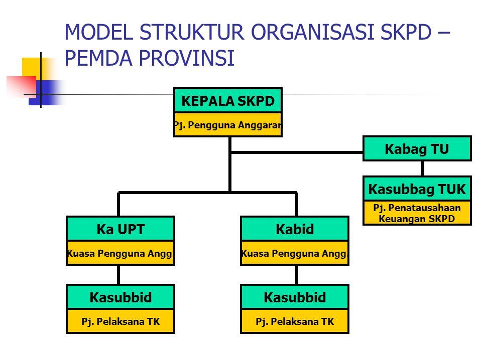 MODEL STRUKTUR ORGANISASI SKPD – PEMDA PROVINSI KEPALA SKPD Pj.