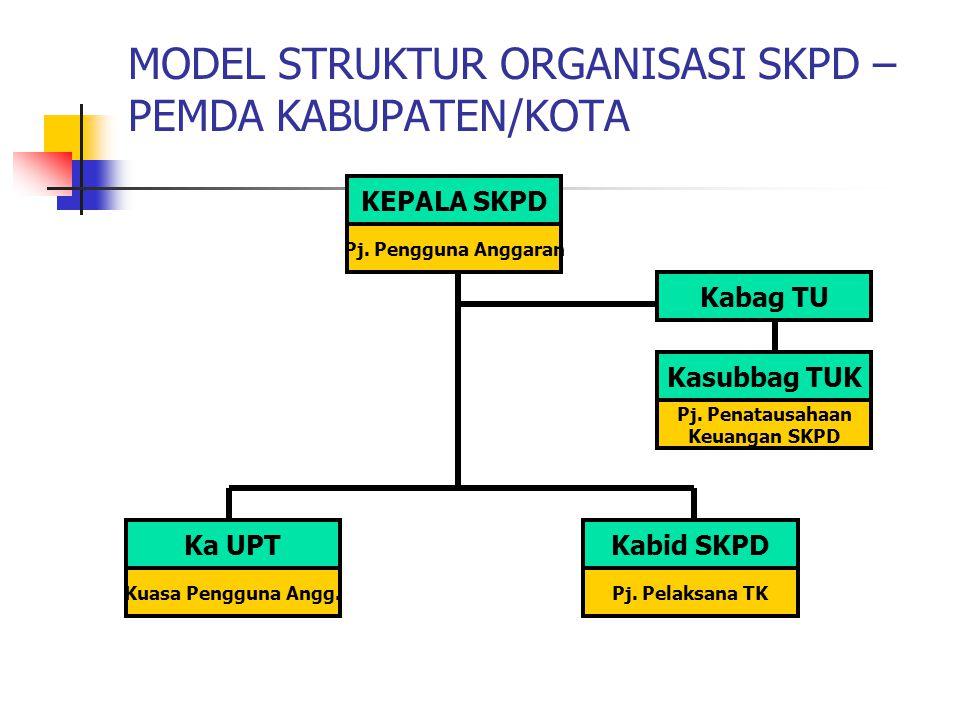 MODEL STRUKTUR ORGANISASI SKPD – PEMDA KABUPATEN/KOTA KEPALA SKPD Pj.