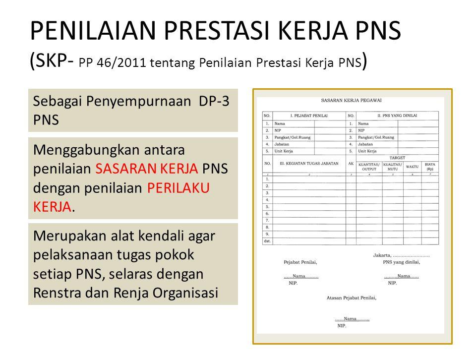 PENILAIAN PRESTASI KERJA PNS (SKP- PP 46/2011 tentang Penilaian Prestasi Kerja PNS ) Sebagai Penyempurnaan DP-3 PNS Menggabungkan antara penilaian SAS
