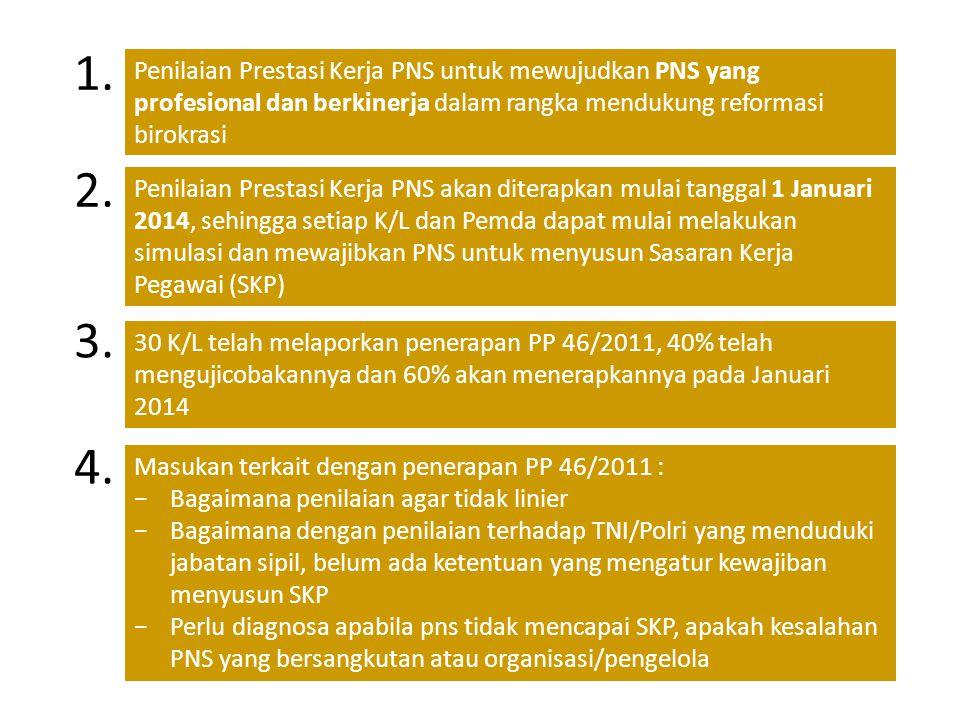 1. Penilaian Prestasi Kerja PNS untuk mewujudkan PNS yang profesional dan berkinerja dalam rangka mendukung reformasi birokrasi Penilaian Prestasi Ker