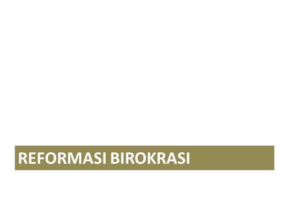 PROSES DAN TUJUAN TRANSFORMASI BIROKRASI RULE BASED BUREAUCRACY PERFORMANCE BASED BUREAUCRACY DYNAMIC GOVERNANCE 2013 2018 2025 BIROKRASI BERSIH, KOMPETEN DAN MELAYANI