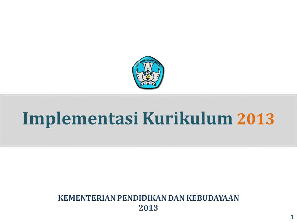 Implementasi Kurikulum 2013 KEMENTERIAN PENDIDIKAN DAN KEBUDAYAAN 2013 1