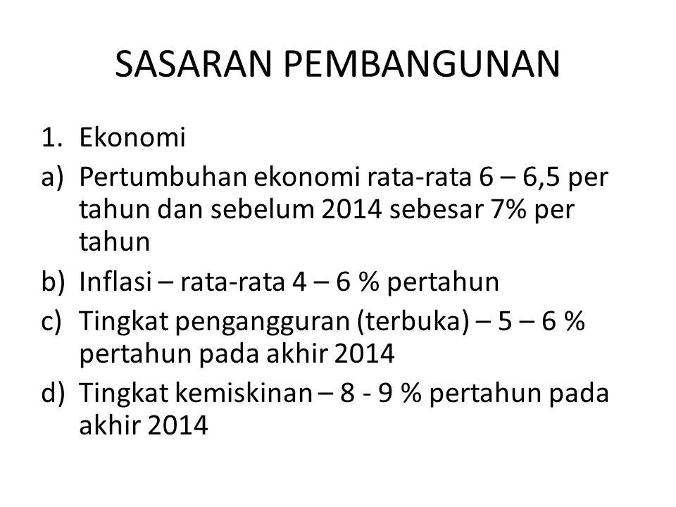SASARAN PEMBANGUNAN 1.Ekonomi a)Pertumbuhan ekonomi rata-rata 6 – 6,5 per tahun dan sebelum 2014 sebesar 7% per tahun b)Inflasi – rata-rata 4 – 6 % pe