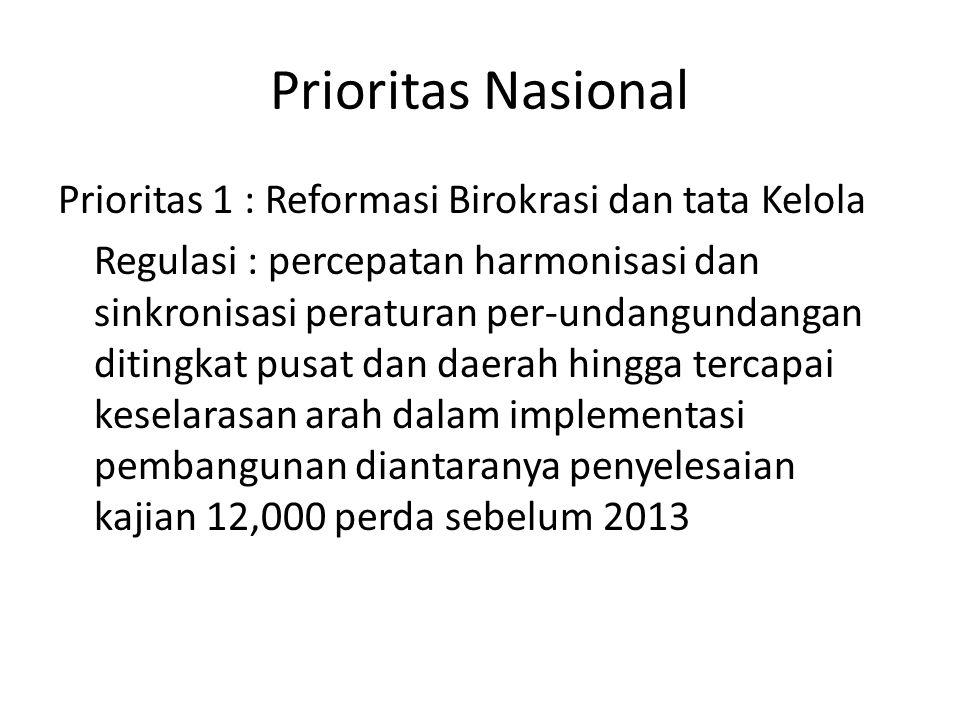 Prioritas Nasional Prioritas 1 : Reformasi Birokrasi dan tata Kelola Regulasi : percepatan harmonisasi dan sinkronisasi peraturan per-undangundangan ditingkat pusat dan daerah hingga tercapai keselarasan arah dalam implementasi pembangunan diantaranya penyelesaian kajian 12,000 perda sebelum 2013