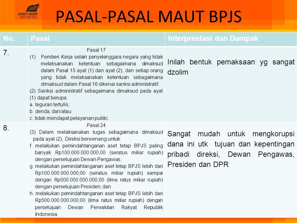 PASAL-PASAL MAUT BPJS No.PasalInterprestasi dan Dampak 7. Pasal 17 (1)Pemberi Kerja selain penyelenggara negara yang tidak melaksanakan ketentuan seba