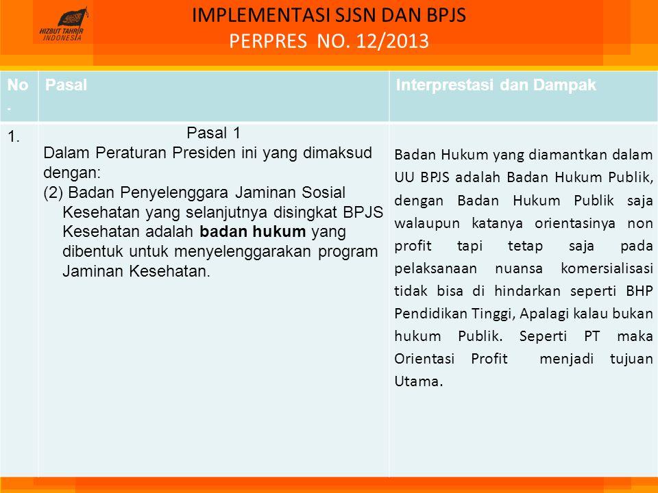 IMPLEMENTASI SJSN DAN BPJS PERPRES NO. 12/2013 No. PasalInterprestasi dan Dampak 1. Pasal 1 Dalam Peraturan Presiden ini yang dimaksud dengan: (2) Bad