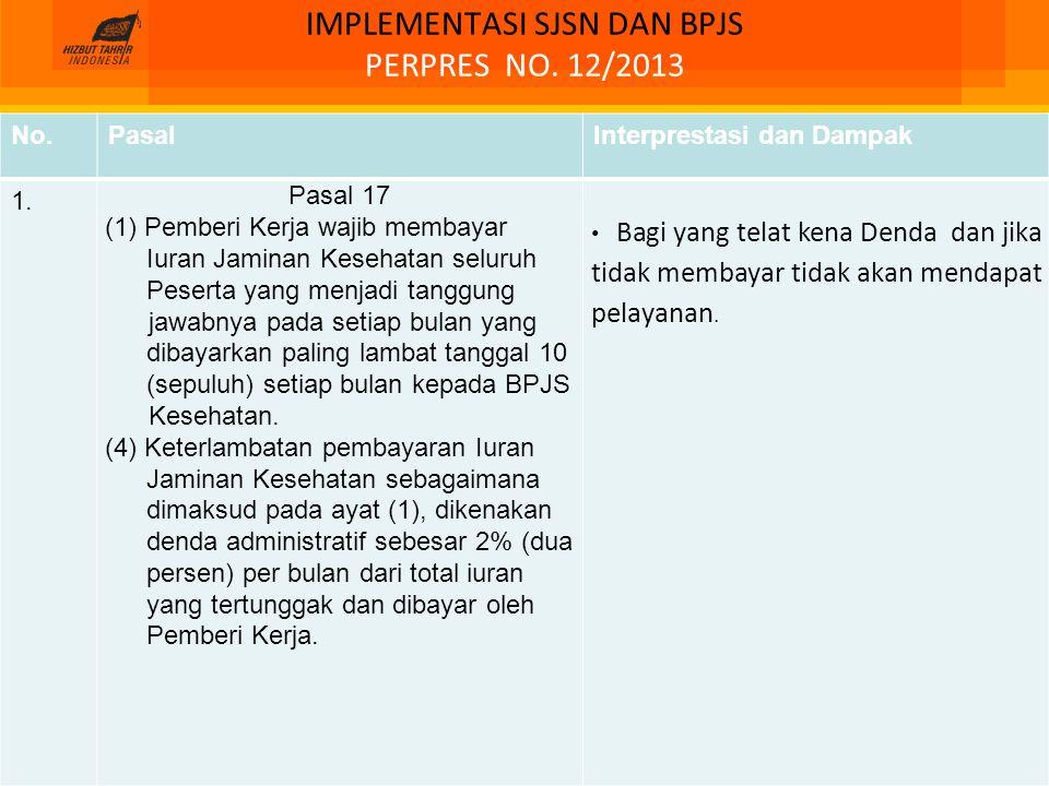 IMPLEMENTASI SJSN DAN BPJS PERPRES NO. 12/2013 No.PasalInterprestasi dan Dampak 1. Pasal 17 (1) Pemberi Kerja wajib membayar Iuran Jaminan Kesehatan s