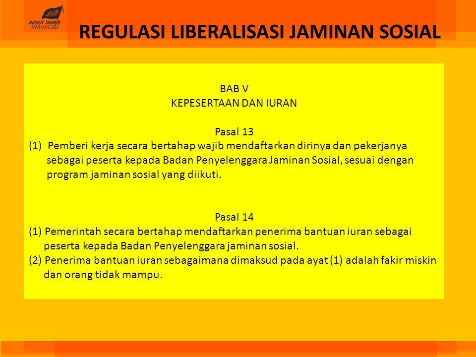 REGULASI LIBERALISASI JAMINAN SOSIAL BAB V KEPESERTAAN DAN IURAN Pasal 13 (1) Pemberi kerja secara bertahap wajib mendaftarkan dirinya dan pekerjanya