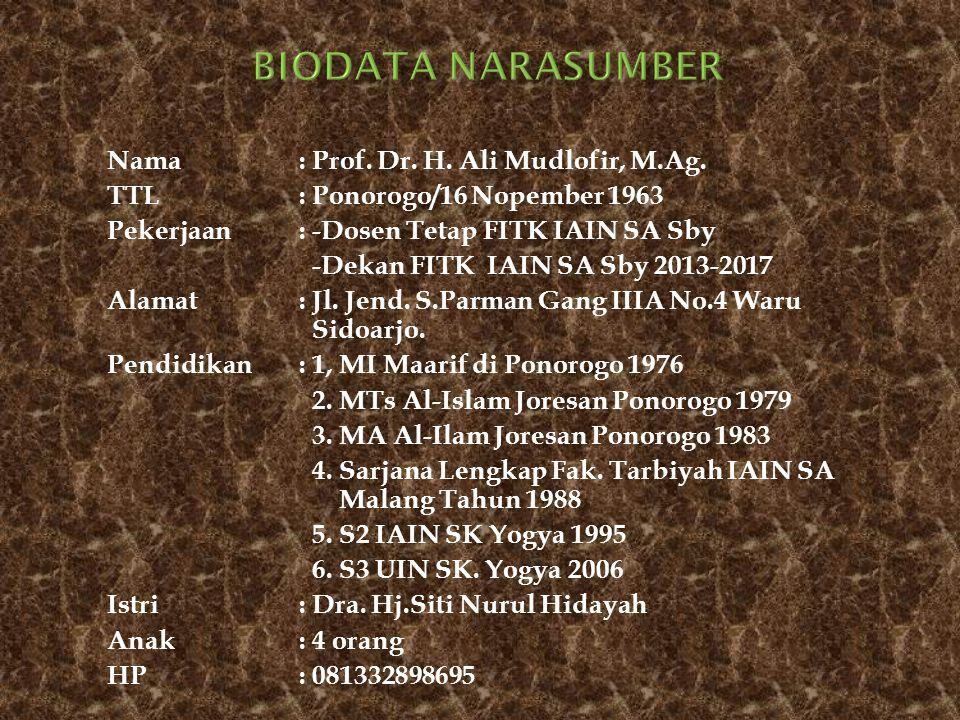 Nama: Prof. Dr. H. Ali Mudlofir, M.Ag. TTL: Ponorogo/16 Nopember 1963 Pekerjaan: -Dosen Tetap FITK IAIN SA Sby -Dekan FITK IAIN SA Sby 2013-2017 Alama