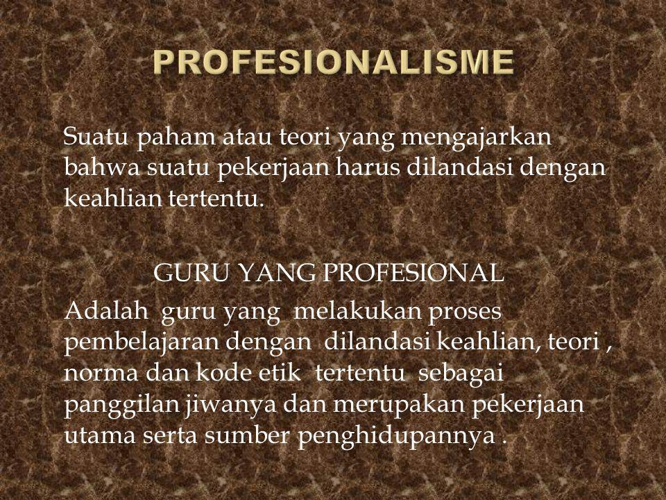 Suatu paham atau teori yang mengajarkan bahwa suatu pekerjaan harus dilandasi dengan keahlian tertentu. GURU YANG PROFESIONAL Adalah guru yang melakuk