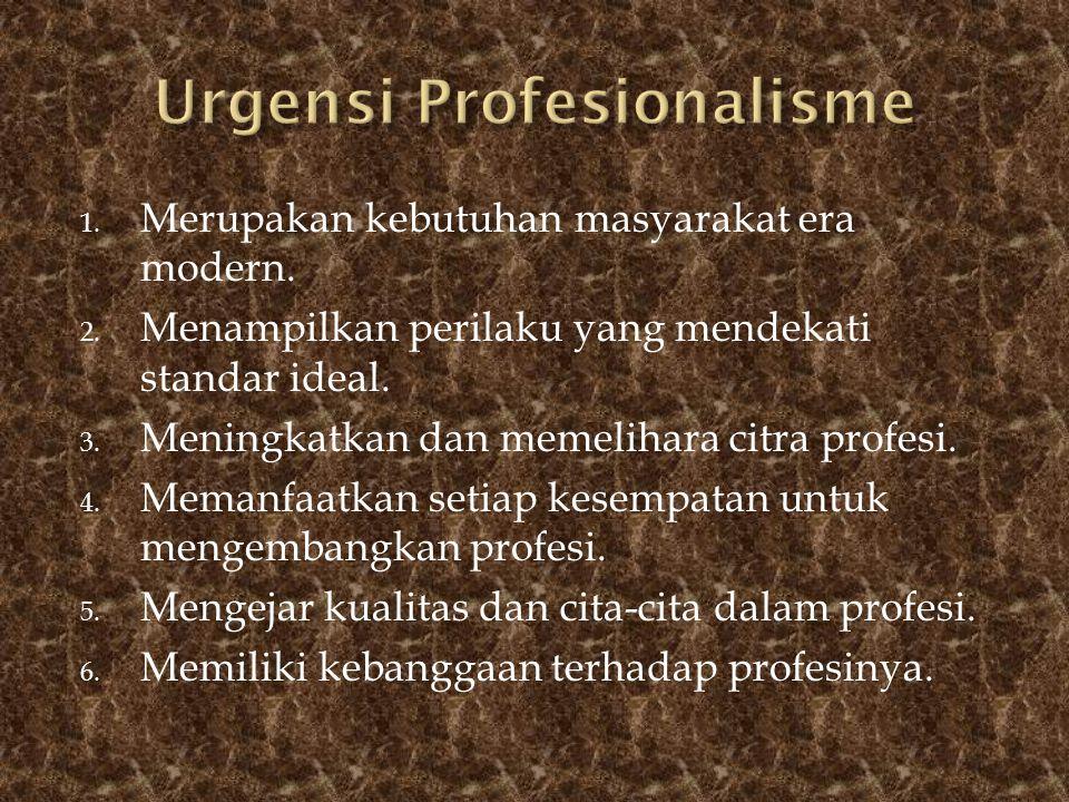 1. Merupakan kebutuhan masyarakat era modern. 2. Menampilkan perilaku yang mendekati standar ideal. 3. Meningkatkan dan memelihara citra profesi. 4. M