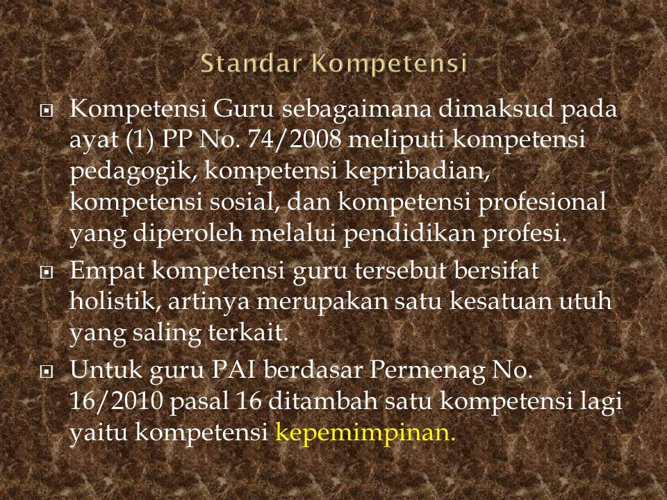  Kompetensi Guru sebagaimana dimaksud pada ayat (1) PP No. 74/2008 meliputi kompetensi pedagogik, kompetensi kepribadian, kompetensi sosial, dan komp