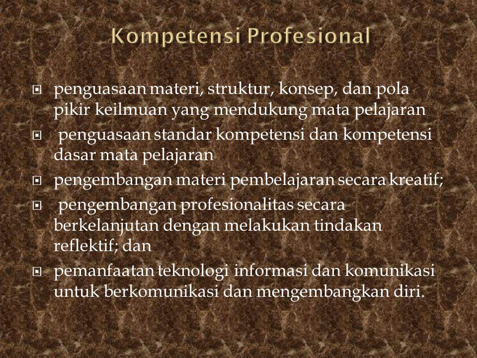  penguasaan materi, struktur, konsep, dan pola pikir keilmuan yang mendukung mata pelajaran  penguasaan standar kompetensi dan kompetensi dasar mata