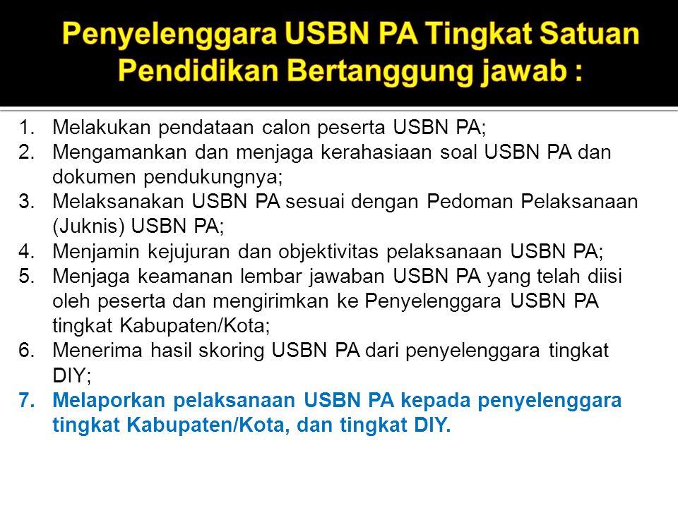 10. Menjamin kejujuran dan objektivitas pelaksanaan USBN PA; 11. Menjamin keamanan dan kerahasiaan proses pengumpulan dan penyimpanan lembar jawaban U