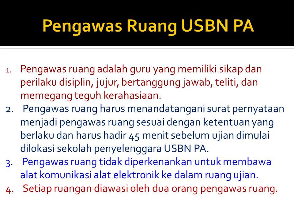 Sekolah penyelenggara USBN PA menetapkan ruang ujian dengan persyaratan sebagai berikut : 1.Ruang kelas yang digunakan aman dan memadai untuk USBN PA;