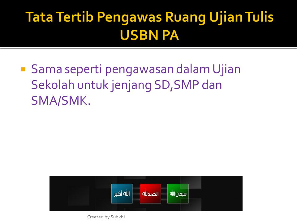 1. Pemeriksaan hasil USBN PA dilakukan oleh penyelenggara tingkat DIY. 2. Pemeriksaan lembar jawaban ujian USBN PA melalui scanning oleh penyelenggara