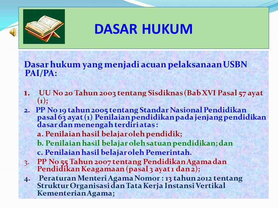 DASAR HUKUM Dasar hukum yang menjadi acuan pelaksanaan USBN PAI/PA: 1.