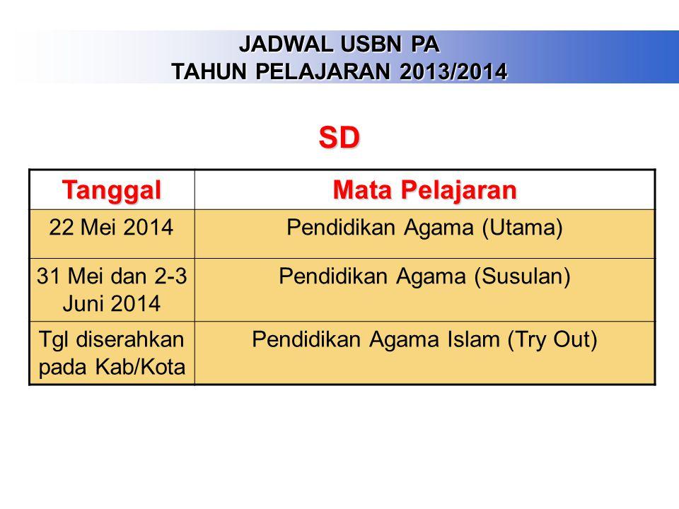 JADWAL USBN PA TAHUN PELAJARAN 2013/2014 Tanggal Mata Pelajaran 24 Maret 2014Pendidikan Agama (Utama) 1-3 April 2014Pendidikan Agama (Susulan) Tgi dis