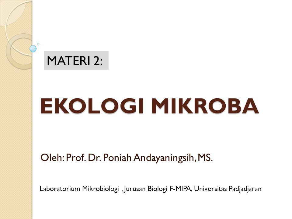 EKOLOGI MIKROBA Oleh: Prof. Dr. Poniah Andayaningsih, MS. MATERI 2: Laboratorium Mikrobiologi, Jurusan Biologi F-MIPA, Universitas Padjadjaran