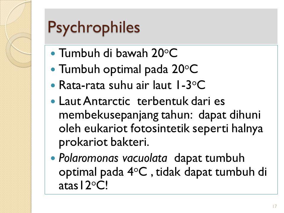 Psychrophiles Tumbuh di bawah 20 o C Tumbuh optimal pada 20 o C Rata-rata suhu air laut 1-3 o C Laut Antarctic terbentuk dari es membekusepanjang tahu