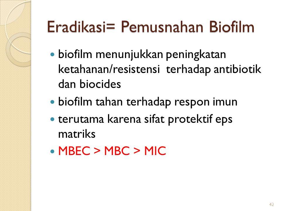 Eradikasi= Pemusnahan Biofilm biofilm menunjukkan peningkatan ketahanan/resistensi terhadap antibiotik dan biocides biofilm tahan terhadap respon imun