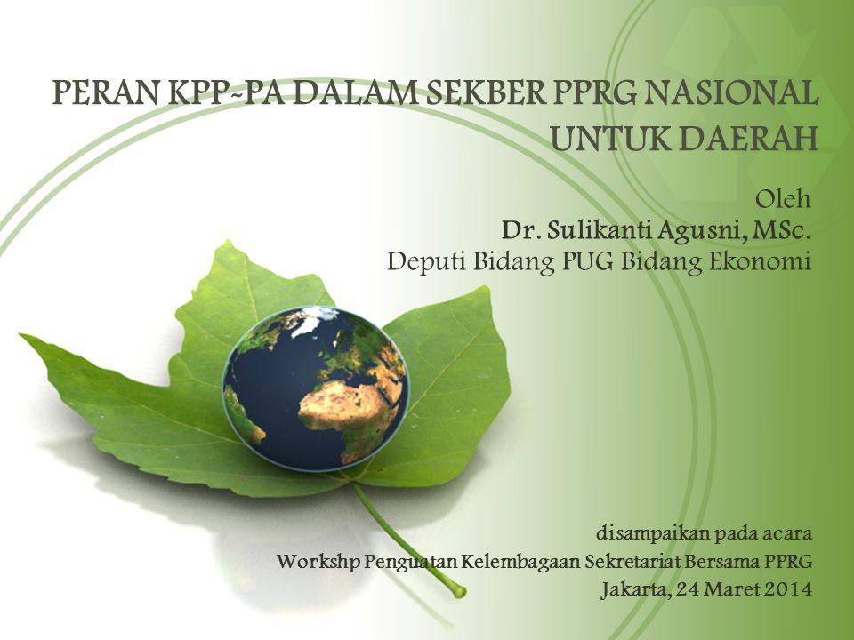 PERAN KPP-PA DALAM SEKBER PPRG NASIONAL UNTUK DAERAH Oleh Dr. Sulikanti Agusni, MSc. Deputi Bidang PUG Bidang Ekonomi disampaikan pada acara Workshp P