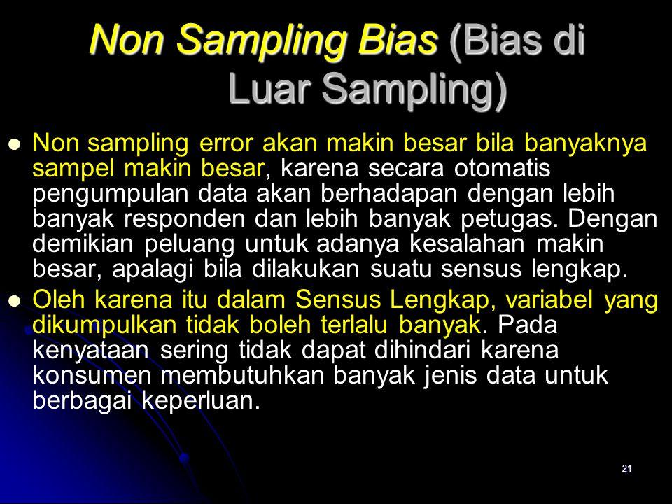 21 Non Sampling Bias (Bias di Luar Sampling) Non sampling error akan makin besar bila banyaknya sampel makin besar, karena secara otomatis pengumpulan data akan berhadapan dengan lebih banyak responden dan lebih banyak petugas.