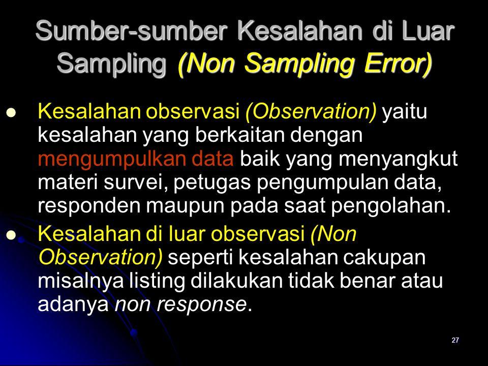 27 Sumber-sumber Kesalahan di Luar Sampling (Non Sampling Error) Kesalahan observasi (Observation) yaitu kesalahan yang berkaitan dengan mengumpulkan data baik yang menyangkut materi survei, petugas pengumpulan data, responden maupun pada saat pengolahan.