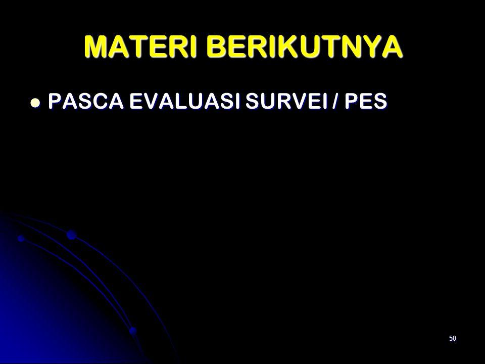 MATERI BERIKUTNYA PASCA EVALUASI SURVEI / PES PASCA EVALUASI SURVEI / PES 50