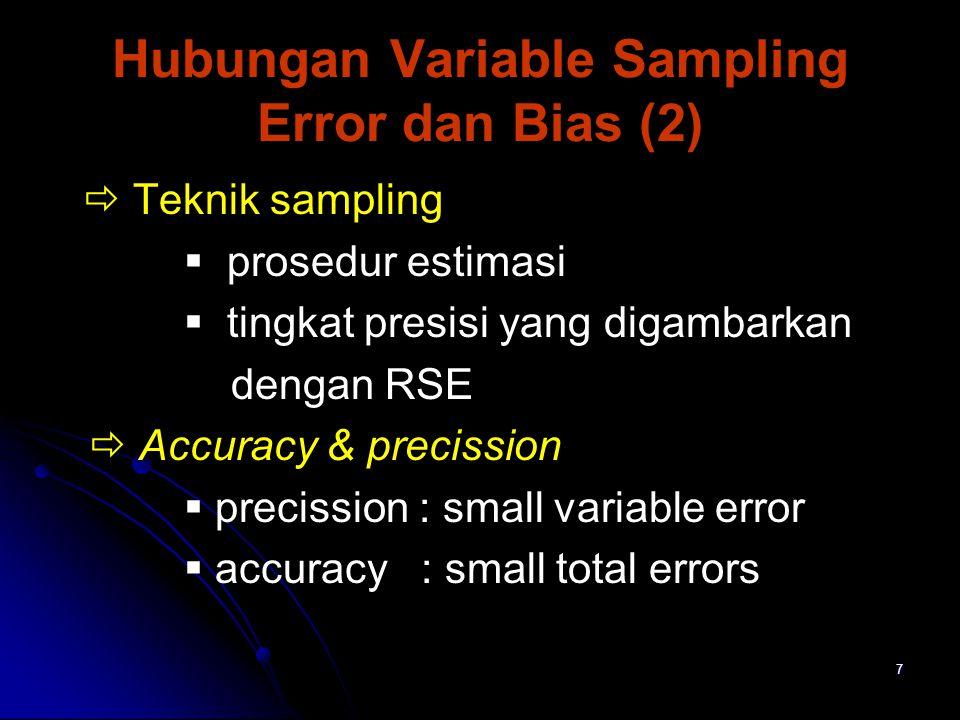 8 Hubungan Variable Sampling Error dan Bias (3) Suatu desain dapat dikategorikan :  Accurate (akurasi), yg berkaitan dengan total error.