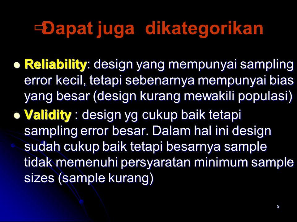 9   Dapat juga dikategorikan Reliability: design yang mempunyai sampling error kecil, tetapi sebenarnya mempunyai bias yang besar (design kurang mewakili populasi) Reliability: design yang mempunyai sampling error kecil, tetapi sebenarnya mempunyai bias yang besar (design kurang mewakili populasi) Validity : design yg cukup baik tetapi sampling error besar.