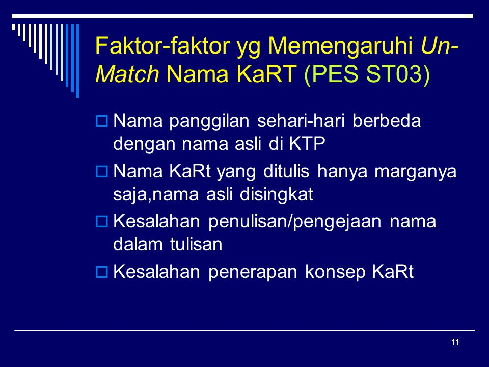 11 Faktor-faktor yg Memengaruhi Un- Match Nama KaRT (PES ST03)  Nama panggilan sehari-hari berbeda dengan nama asli di KTP  Nama KaRt yang ditulis hanya marganya saja,nama asli disingkat  Kesalahan penulisan/pengejaan nama dalam tulisan  Kesalahan penerapan konsep KaRt