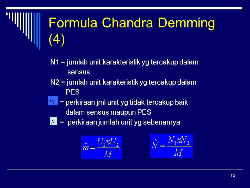 15 Formula Chandra Demming (4) N1 = jumlah unit karakteristik yg tercakup dalam sensus N2 = jumlah unit karakeristik yg tercakup dalam PES = perkiraan jml unit yg tidak tercakup baik dalam sensus maupun PES = perkiraan jumlah unit yg sebenarnya