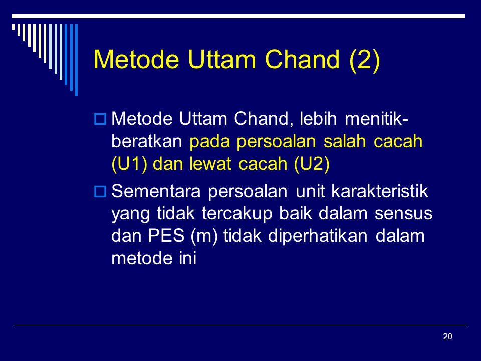 20 Metode Uttam Chand (2)  Metode Uttam Chand, lebih menitik- beratkan pada persoalan salah cacah (U1) dan lewat cacah (U2)  Sementara persoalan unit karakteristik yang tidak tercakup baik dalam sensus dan PES (m) tidak diperhatikan dalam metode ini