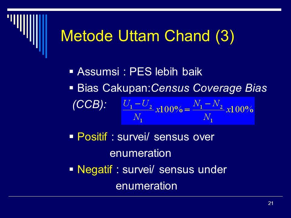 21 Metode Uttam Chand (3)  Assumsi : PES lebih baik  Bias Cakupan:Census Coverage Bias (CCB):  Positif : survei/ sensus over enumeration  Negatif : survei/ sensus under enumeration